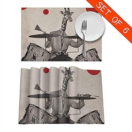 Girafes Play Drums Art abstrait Style Set de napperons rétro Ensemble de 6 pour table à manger lavable napperon antidérapant tapis de table de cuisine, 45 x 30 cm