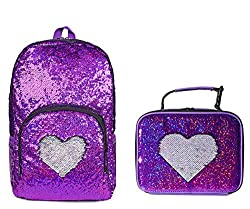 Fuchsia/Sliver Blue Sequin Elementary Book Backpack With Lunch Bag