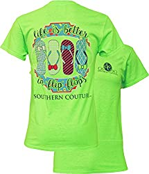 Southern Couture Womens Life Is Better in Flip Flops Short-Sleeve Tee Shirt