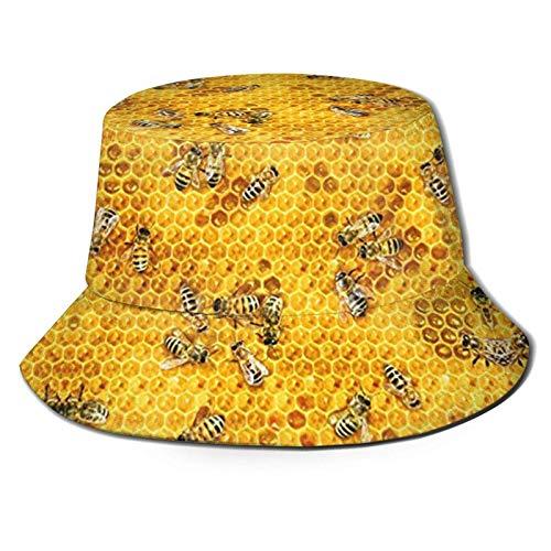 Honey Bees On A Honey Combs Sombrero de Cubo Reversible de Doble Cara con Estampado Unisex Gorra de Verano para Exteriores Sombreros de Sol Plegables para Senderismo Deportes de Playa