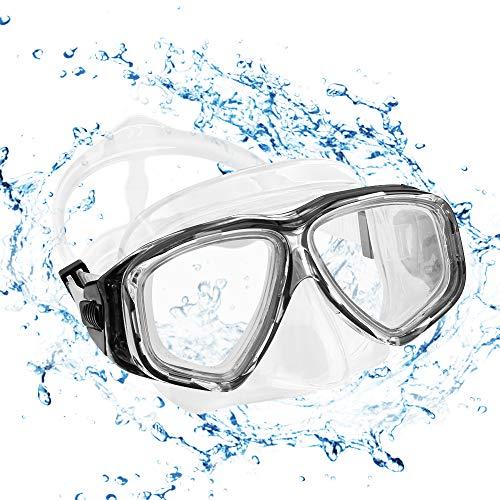 KOROSTRO Taucherbrille Erwachsene, Anti-Fog Schnorchelbrille Schwimmbrille Tauchmaske, Wasserdicht, Lecksicher, UV Schutz, Verstellbares Silikonband, Schnorcheln Enthusiasten Beste Wahl - Schwarz