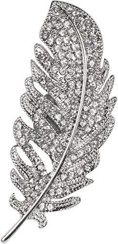 styleBREAKER Damen Magnet Schmuck Brosche Feder mit Strass, für Schals, Tücher oder Ponchos 05050068, Farbe:Silber
