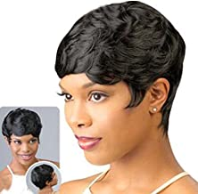 DEYSSNE Short Black Pixie Cut Straight Synthetic Wigs With Bangs For Black Women Brazilian Hairstyle Wig