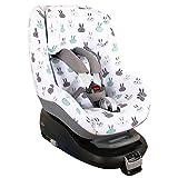 Fundas Para Sillas de Algodón Oeko-Tex para Silla de Coche Maxi Cosi Pearl y 2 Way Pearl Funda Silla Garantiza la Comodidad de la Piel del Bebé y Ayuda a no Sudar Conejos