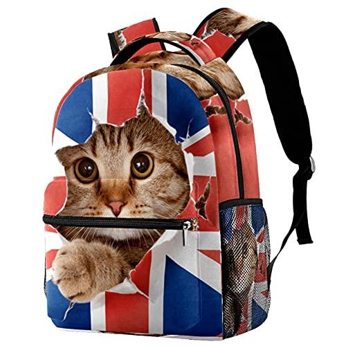 WARMFM Bandera británica de gato Mochila Mochilas escolares ligeras para niños y niñas