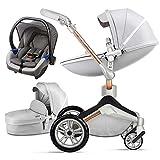 Hot Mom Silla de paseo Reversibilidad rotación multifuncional de 360 grados con buggy asiento y capazo 2020 Nueva actualización (Gris-3-ES)