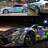 "XhuangTech Holographic Laser Black Chrome Car Vinyl Wrap Roll Self Adhesive Decal Sticker Film Sheet Air Bubble Free (Laser Silver, 60"" x 29.52"" (1.52M x 0.75M)"