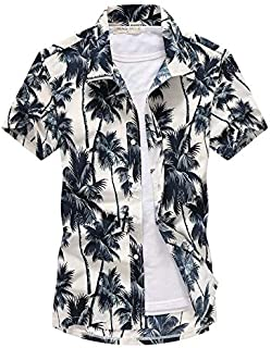 BEESCLOVER Beach Shirts Men Clothes Summer Coconut Tree Printed Short Sleeve Button Down Hawaiian Aloha Shirts Mens S-5XL