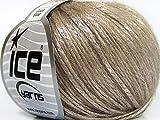 Rock Star, Fuzzy Halo, Shine, Soft Nylon Merino Wool Acrylic Blend Yarn, 50 Gram, Shining Sands