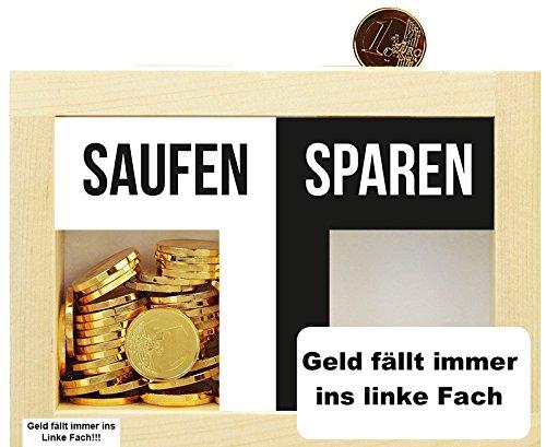 Trend Import Lustige Spardose aus Holz für Saufen/Sparen kreatives Geldgeschenk