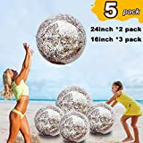"""5 Pack Sequin Beach Ball Jumbo Pool Toys Balls Giant Confetti Glitter Inflatable Clear Beach Ball Swimming Pool Water Fun Toys Outdoor Summer Party Favors for Kids Adults (24""""-2 Pieces,16""""-3 Pieces)"""