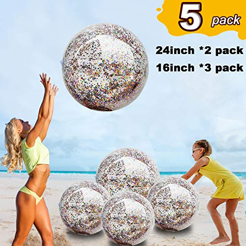 "5 Pack Sequin Beach Ball Jumbo Pool Toys Balls Giant Confetti Glitter Inflatable Clear Beach Ball Swimming Pool Water Fun Toys Outdoor Summer Party Favors for Kids Adults (24""-2 Pieces,16""-3 Pieces)"