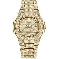 Reloj Hombres Bling Bling Joyería de Moda Cristal Diamante Diamante de imitación Relojes para Mujer Banda de Acero Pulsera Redonda Dial analógico Hip Hop Royalty Reloj