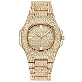 cilyberya Reloj Iced out Hip Hop para Hombres, Bling Bling