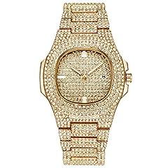 Idea Regalo - Souljewelry Orologio da polso al quarzo con data da uomo stile hip-hop da donna Bling Bling Bracciale unisex in lega znic con zirconi brillanti AAA decorati con diamanti