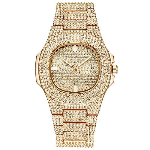 xHxttL Iced out Diamond Watch Bling Bling Rhinestone Full Diamond Metal Band Round Dial Pulsera de Cuarzo Reloj de Pulsera Hip Hop Jewelry