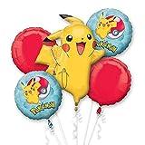 amscan 3633401 Pokémon - Ramo de globos de aluminio con diseño de Pikachu, 5 unidades