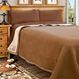 Poyet Motte Made In France Aubisque 500GSM Heavyweight 100-Percent Wool Blanket (Camel/Natural, King Size)