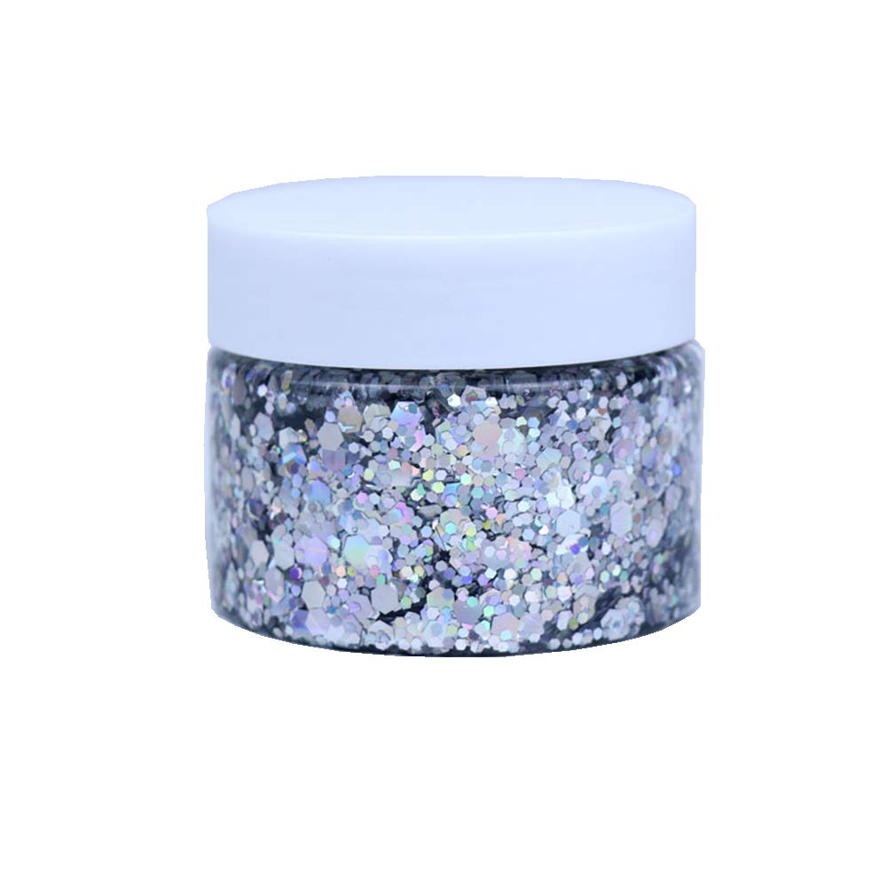 DAWILS Peel Off Chunky Glitter Gel Face Makeup Holographic Chunky Glitter Body Peel Off Formula Cosmetic Glitter Glue Silver : Beauty & Personal Care