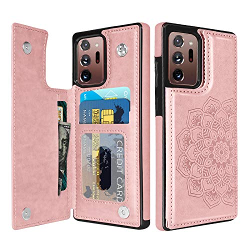 BENTOBEN Wallet Case for Samsung Galaxy Note 20 Ultra 5G, PU Leather Heavy Duty Rugged Shockproof Protective Cases with Card Slots Cash Holder Case for Galaxy Note20 Ultra 6.9' 2020 -Rose Gold