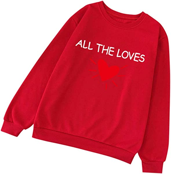 Redacel Men Women Pullover Tops Casual Long Sleeve O Neck Letter Printed Sweatshirt Pullover Blouse