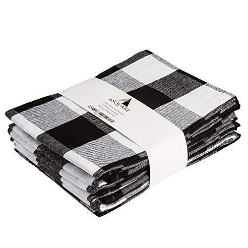 Asquare 4er Set Geschirrtücher Baumwolle 50x70 cm | schwarz-weiß Karierte Geschirrhandtücher | Küchenhandtücher zum Abtrocknen | 220g/m² Küchentücher
