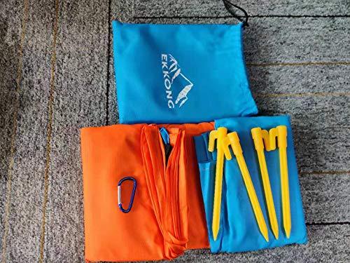 EKKOG - Manta de picnic mate para playa, camping, senderismo y picnic (210 x 250 cm), color azul y naranja