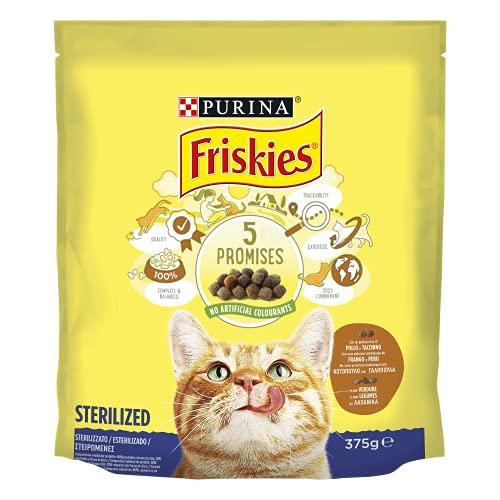 PURINA FRISKIES Crocchette Gatto Sterilizzati con Pollo, Tacchino e Verdure, 12 Confezioni da 375 g Ciascuna, Peso Totale 4,5 kg