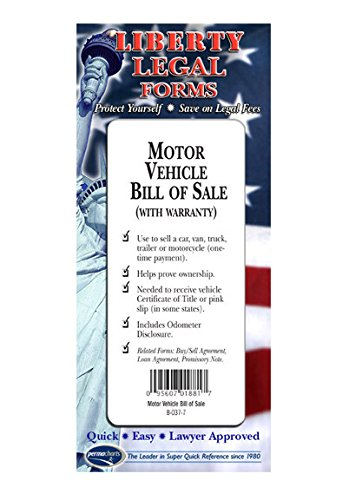Motor Vehicle Bill of Sale - USA - Do-it-Yourself Legal Forms by Permacharts