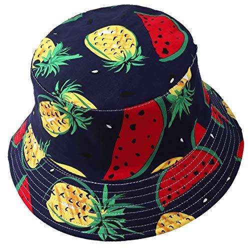 Cappello alla pescatora reversibile, unisex, stampa frutta, da esterno, protegge dal sole Watermelon Navy Taglia unica