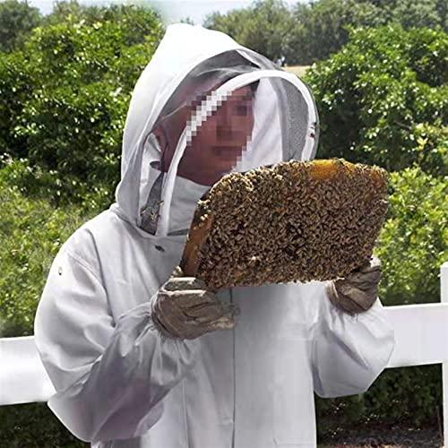 Beekeeping clothes Traje de apicultura anti-abeja Polister Apicultores Disfraz profesional Cuerpo completo Abeja Removedor Ropa Proteccin de abejas Traje D25 (Color : White, Size : L)