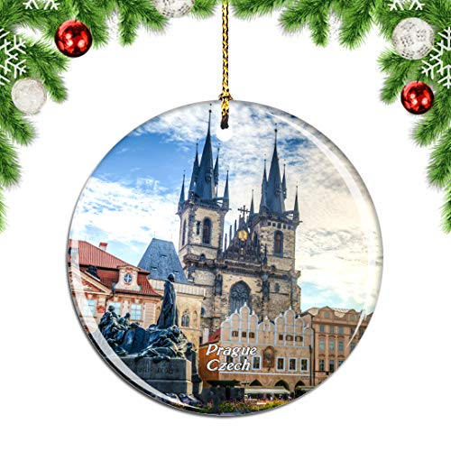 Weekino Czech Old Town Square Prague Christmas Xmas Tree Ornament Decoration Hanging Pendant Decor City Travel Souvenir Collection Double Sided Porcelain 2.85 Inch