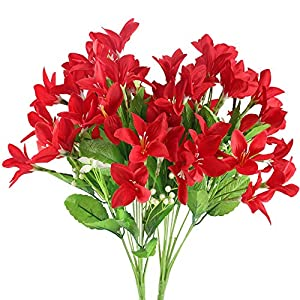 NAHUAA 2PCS Outdoor Artificial Silk Narcissus Flower Bundles Fake Plants Bushes Faux Floral Bouquets Table Centerpieces Arrangements Wedding Home Kitchen Office Decor Spray in Red