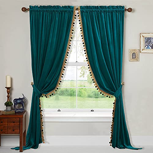 StangH Velvet Curtains 96 inches Long - Peacock Pom Pom Curtains Luxury Home Decoration for Room Dividers Blackout Heat Faded Door Curtains for Villa / Apartment, Teal, W52 x L96, 2 Panels & Tiebacks