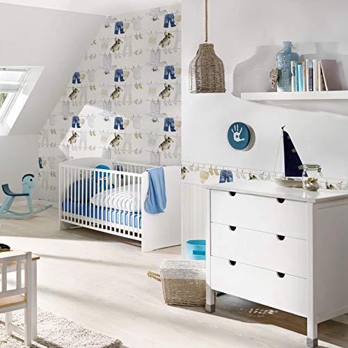 WALL-ART helle Dekoleiste mit Teddy Motiv. PVC-freie Tapete Kinderzimmer Bordüre für Baby Schlafzimmer mit Teddy Bildern