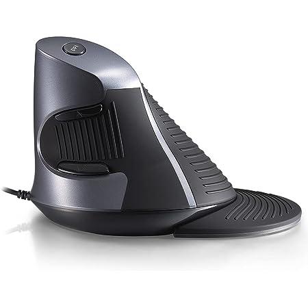 DELUX エルゴノミクスマウス 人間工学設計 腱鞘炎防止 光学式 有線 縦型マウス 高精度 可調整DPI 右利き 大型 リストレスト付き 六個ボタン付き PC/ラップトップ用 垂直マウス(M618 BU 黒)…