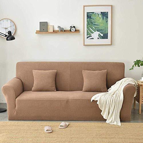 Lsqdwy 1/2/3/4 plazas Funda de Forro Polar para sofá Funda de sofá de Color sólido Funda elástica para sofá Completa Funda de Almohada elástica Fundas para sillas Azul, Titanio Café, L (190-230MM)