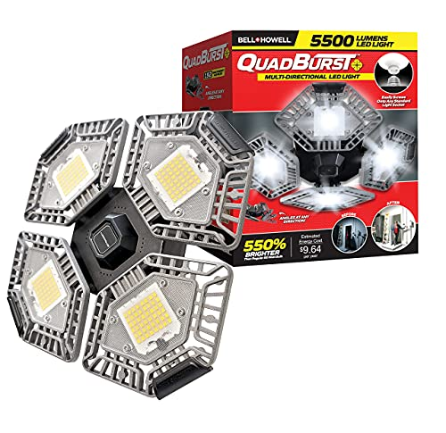 QUADBURST by Bell+Howell LED Lighting with 5,500 Lumens, 4 Multi-Directional Panels with 192 Ultra High-Intensity LED Bulbs, Simple Installation and Wireless As Seen On TV