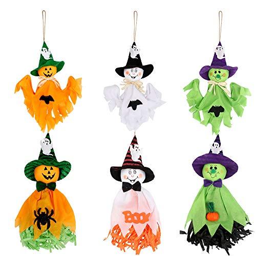 Kulannder Ciondolo Decorazione Fantasma, 6 Pezzi di Halloween Hanging Ghost Sono usati per la Decorazione della casa del Bar, Halloween Hanging Ghosts è la Perfetta Decorazione di Halloween (6 Stili)