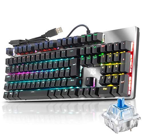 Teclado Mecânico Gamer Pc Usb Adamantiun Shuriken Led Abnt2 Switch Azul Blue Double Injection Software Macro