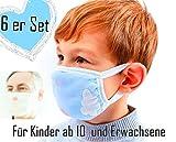Juego de 6 protectores de boca y nariz transpirables. Para niños a partir de 10 y adultos. De seis capas de algodón hechas a mano Entrega rápida de Dresden en solo 2-3 días.