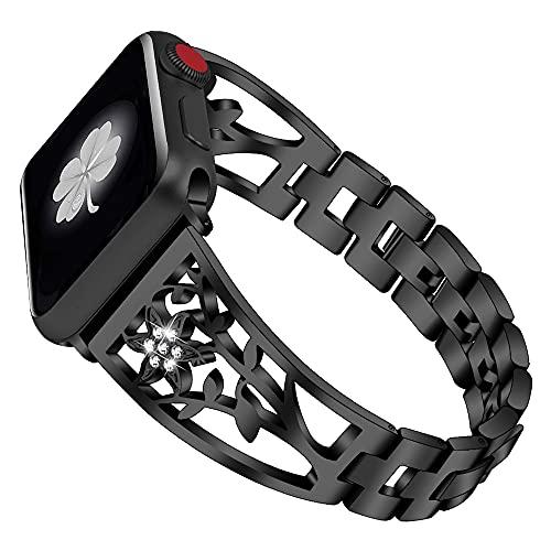 CHENPENG Correa Compatible con Apple Watch Pulsera de Metal Brillante Banda de Metal Brillante Ajustable con Pulsera de Diamantes de imitación,Negro,42MM