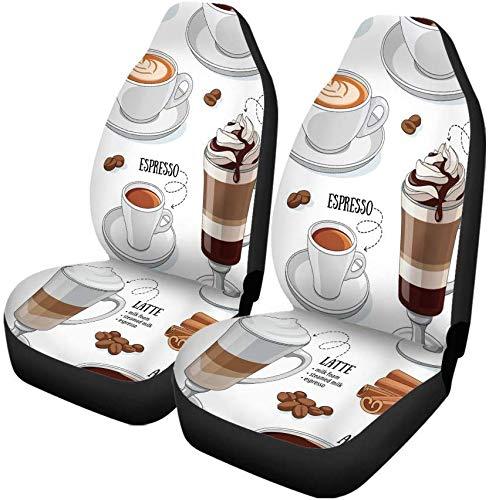 Set van 2 auto stoelhoezen Cafe verschillende soorten koffie cafeïne dessert mocha Americano universele auto voorstoelen beschermer past voor auto