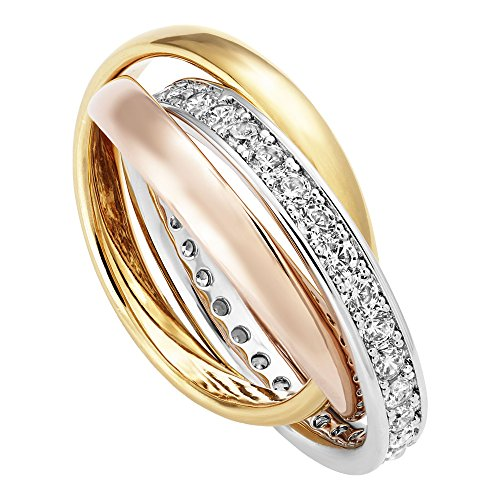 Buckley London Damen Ring Tricolor mit Zirkonia Messing Glänzend Zirkonia Mehrfarbig 430070045