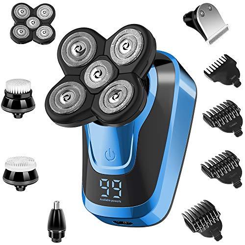 Rasierer Herren Elektrisch, 5-in-1Glatzenrasierer für Männer Elektrorasierer Rasierapparat Nass-und Trockenrasiererr, Bartschneider Präzisionstrimmer Mit 5 Scherköpfe, USB Schnell Aufladbarer