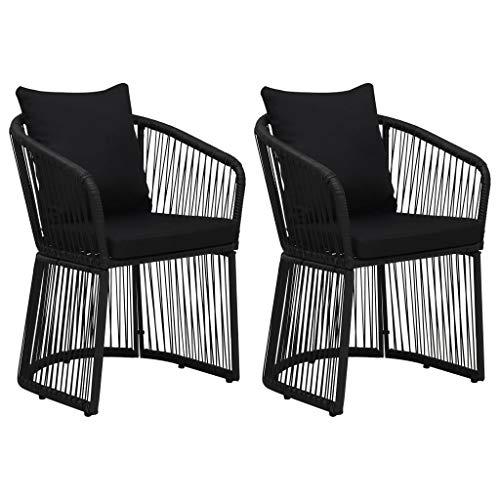 vidaXL 2X Chaises de Jardin avec Coussins Sièges d'Extérieur Fauteuils de Patio Chaises de Terrasse Arrière-Cour Résine Tressée PVC Noir