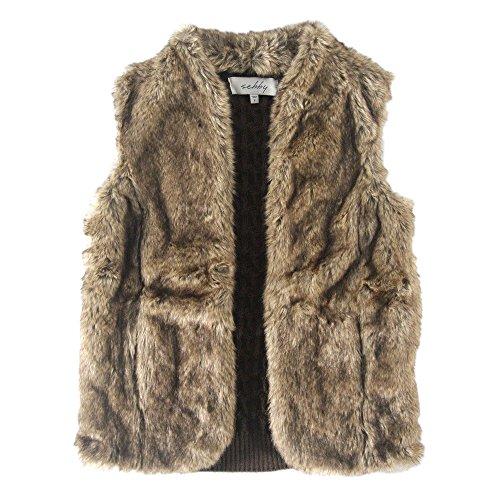 Sebby Women's Faux Fur & Crochet Sweater Vest, Brown Medium