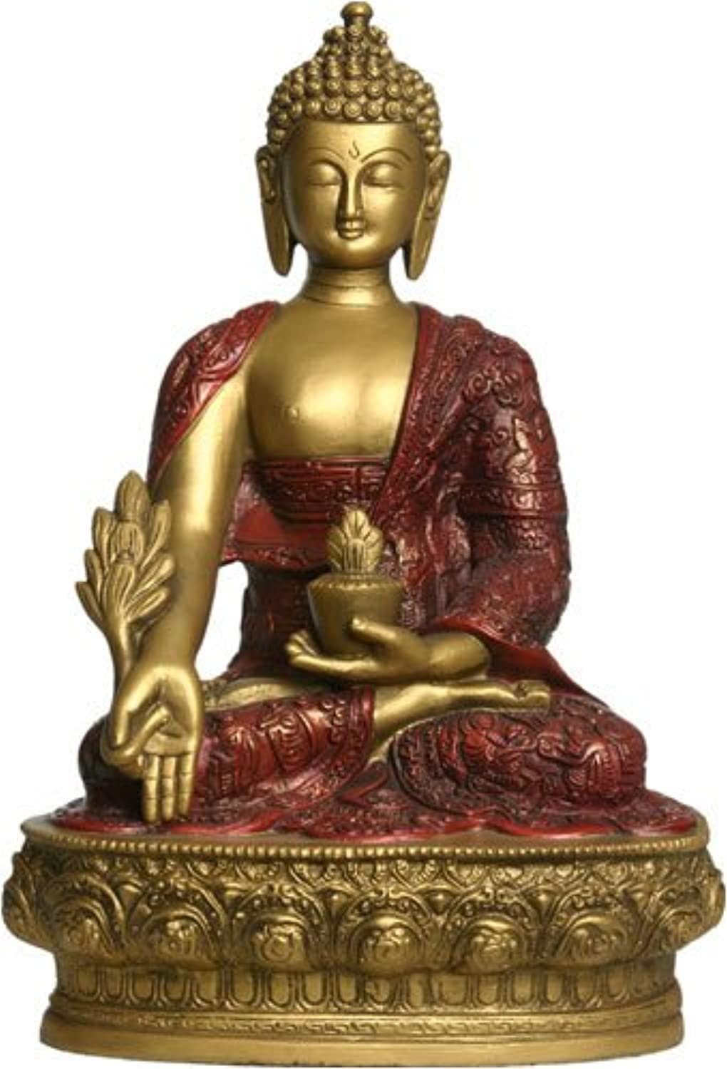 Medicine Buddha Statue, gold and Red, 12 H