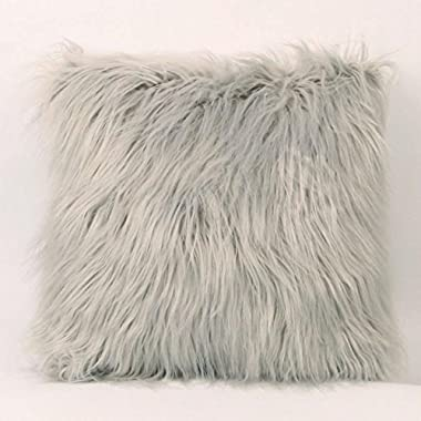 Dirance Decorative Pillow Cover 18x18, Plush Furry Supersoft Square Pillow Protectors Throw Pillow Case Cushion Cover Bed Sofa Home Decor (Gray)