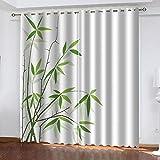 MXYHDZ Cortinas Dormitorio Opacas - Planta de bambú Verde Cortinas Salón para Habitación Opacas con Aislamiento Térmico- 200 x 160 cm para Oficina, Dormitorio habitación de los niños, 2 Piezas